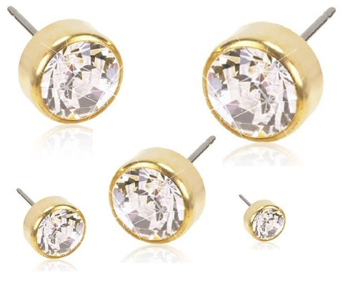 Golden Titanium Bezel Crystal Earrings -  Assorted Sizes