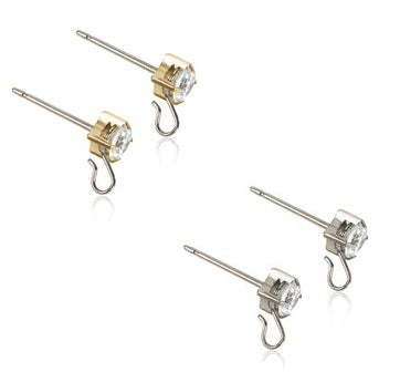 Safety ear pin 5mm Tiffany Crystal - Titanium