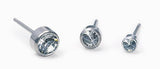 Silver Titanium Bezel Crystal Earrings - Assorted Sizes and Colours