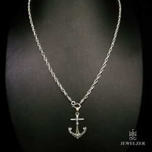925 Sterling Silver Twist Chain Necklace with Skull Anchor Pendant