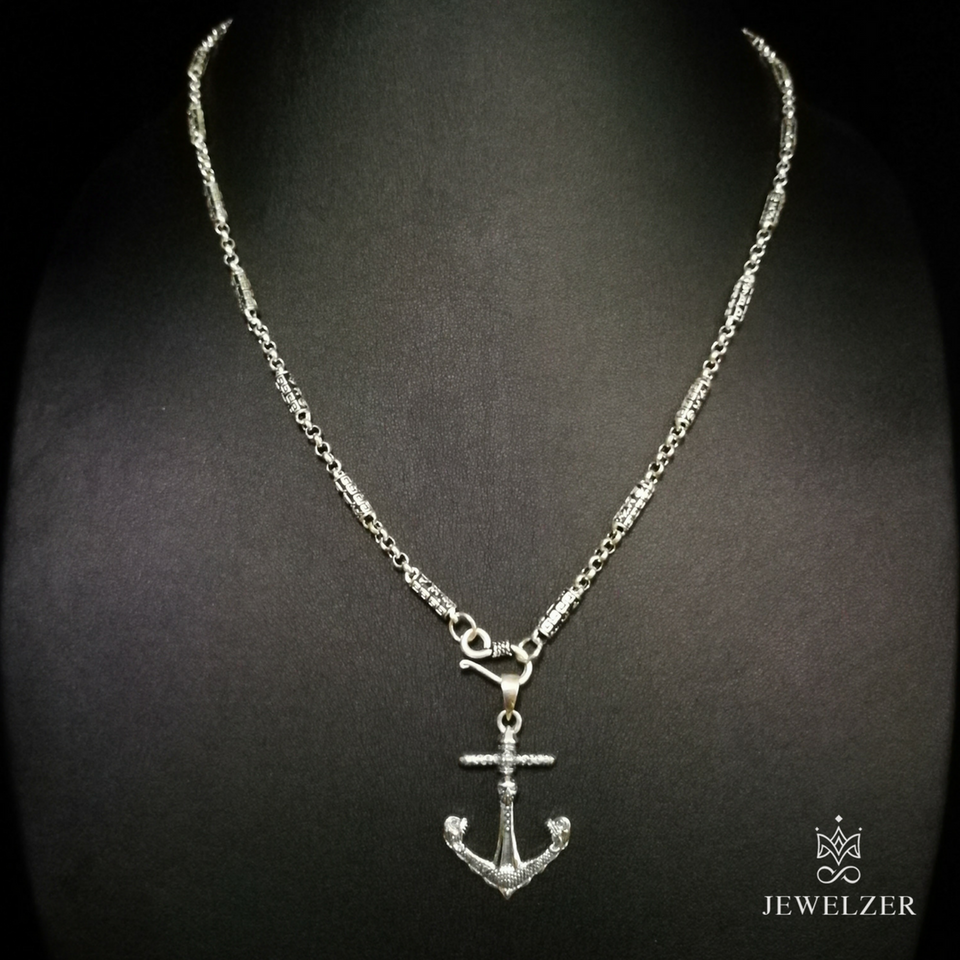 925 Sterling Silver Mandra Chain Necklace with Skull Anchor Pendant