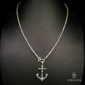 925 Sterling Silver Wealthy Chain Necklace with Skull Anchor Pendant