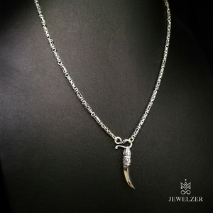 925 Sterling Silver Wealthy Chain Necklace with Wolf Tooth Mandra Pendant