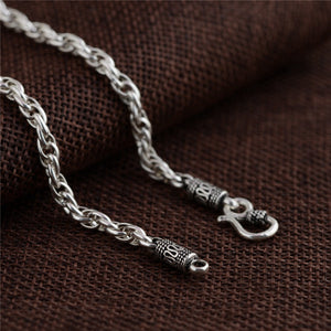 925 Sterling Silver Twist Chain Necklace with Wolf Tooth Mandra Pendant