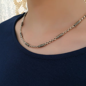 925 Sterling Silver Mandra Chain Necklace with Gawu Box Pendant