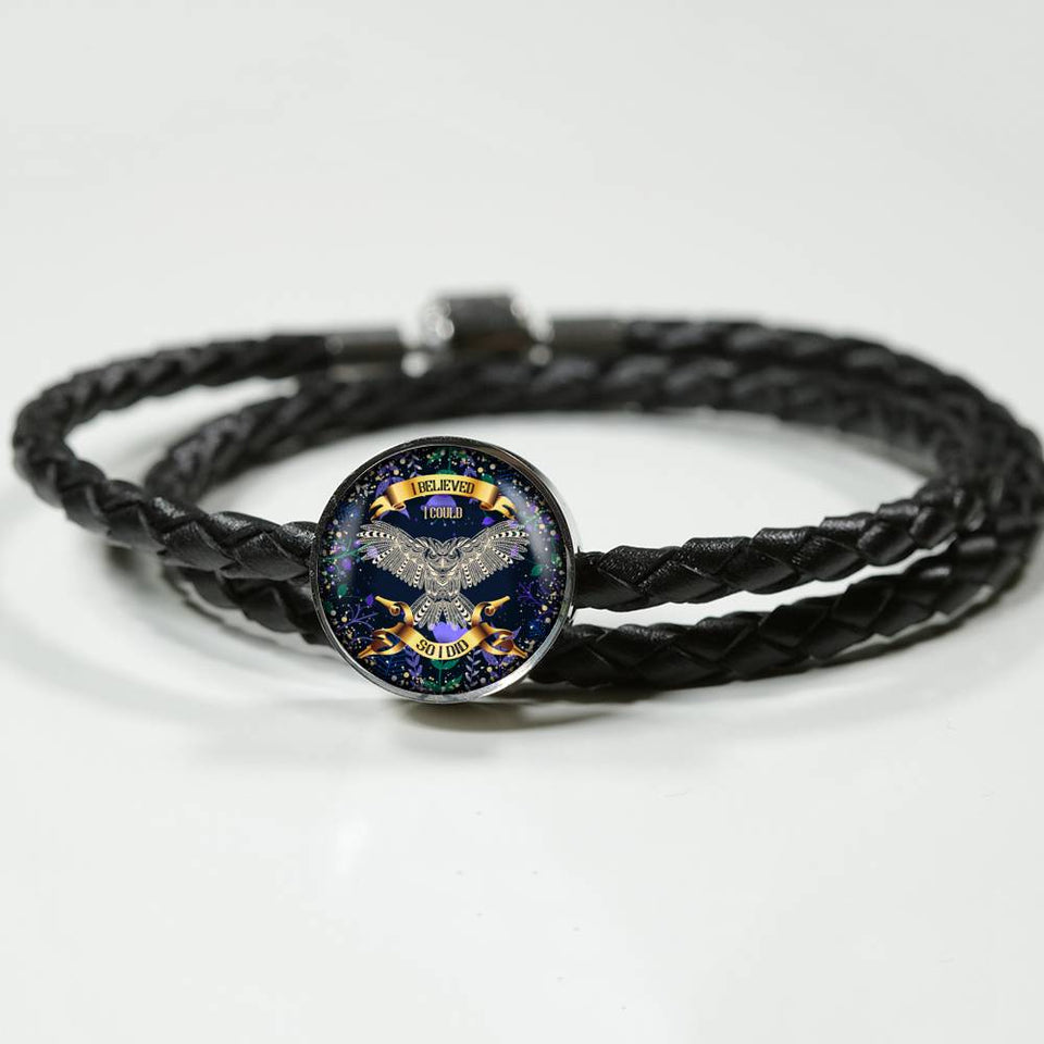 LEATHER WOVEN OWL BRACELET