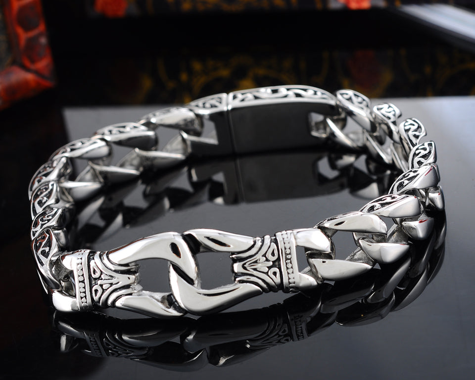 Gothic Antique Silver Men Bracelet