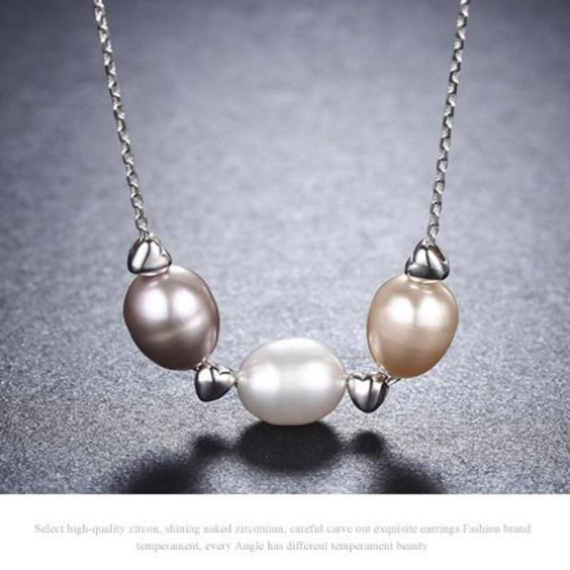 925 Sterling Silver One Love Pearl Pendant Necklace