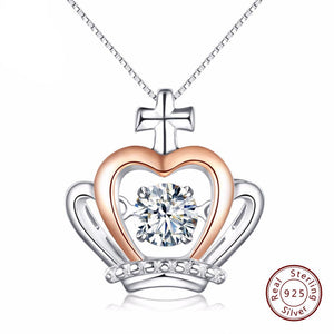 925 Silver Precious Crown Pedant Necklace