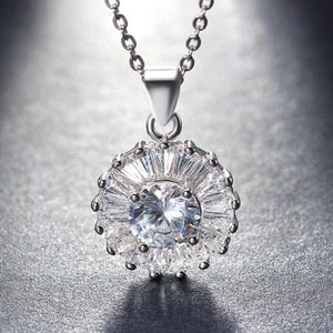 925 Sterling Silver Round Crystal Sun Pendant Necklace