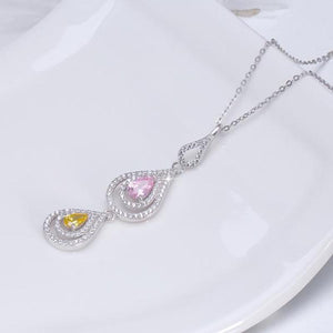 925 Sterling Silver Exquisite Crystal Drops Pendants Necklace