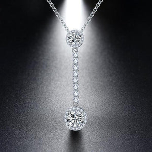 925 Sterling Silver Enchanted Crystal Drop Pendant Necklace