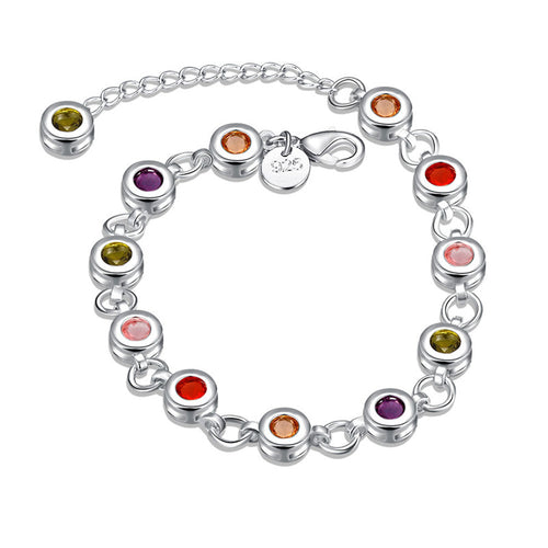 925 Sterling Silver Luxury Crystal Charm Bracelet