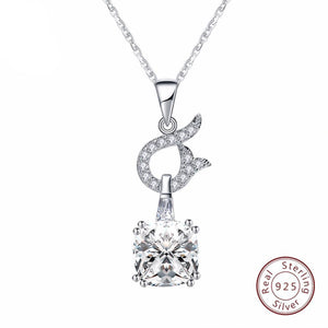 925 Sterling Silver Charm Square Pendant Necklace
