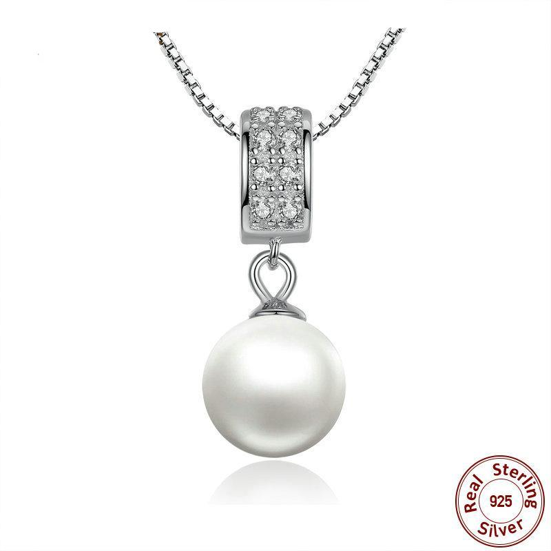 925 Sterling Silver Exquisite Pearl Pendant Necklace