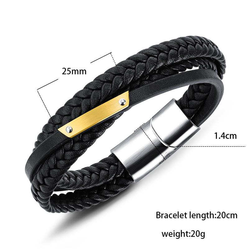 Black Braided Rope Wrap Leather Men's Bracelet