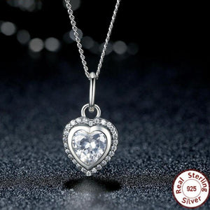 925 Sterling Silver Luxury Love Heart Pendant Necklace