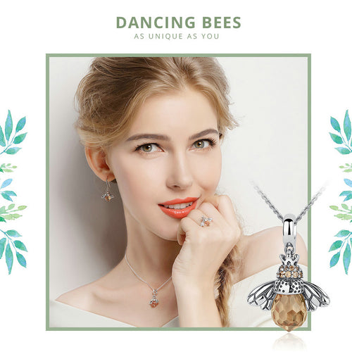 925 Sterling Silver Queen Bee Crystal Pendant Necklace