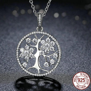 925 Sterling Silver Eternity Tree of Life Pendant Necklace
