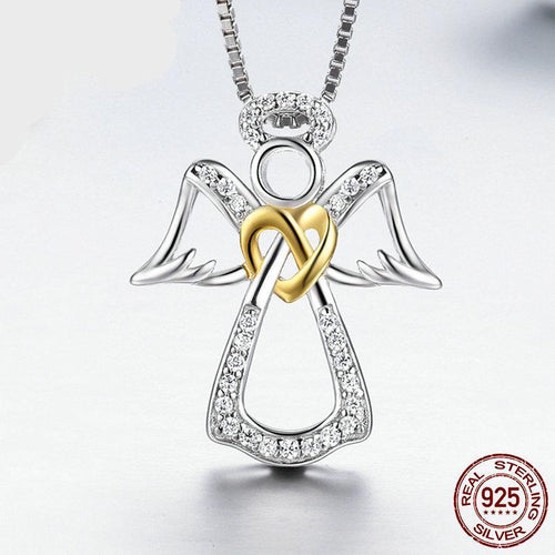 925 Sterling Silver Fairy Angel Heart Pendant Necklace