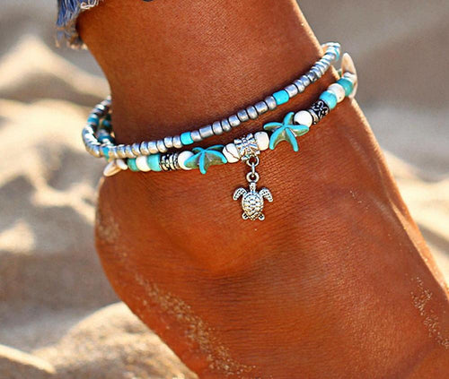 Vintage Shell Multi Layer Starfish Anklet [FREE Item]