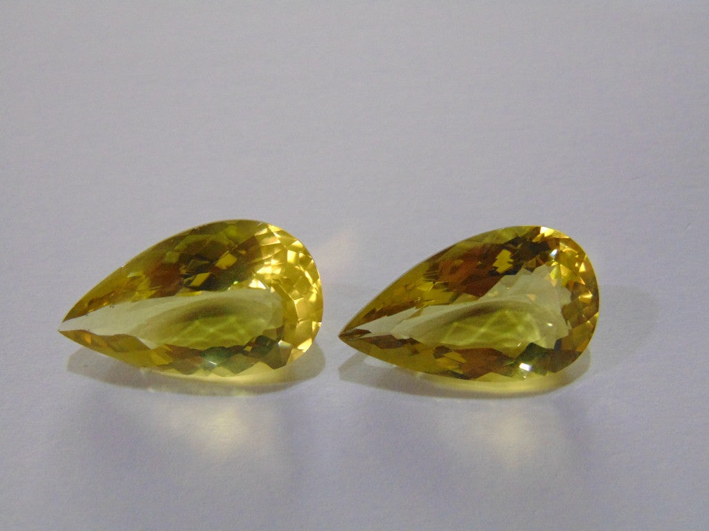 35.50ct Quartz (Green Gold) Pair
