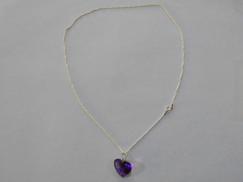 Silver Necklace With 15ct Amethyst