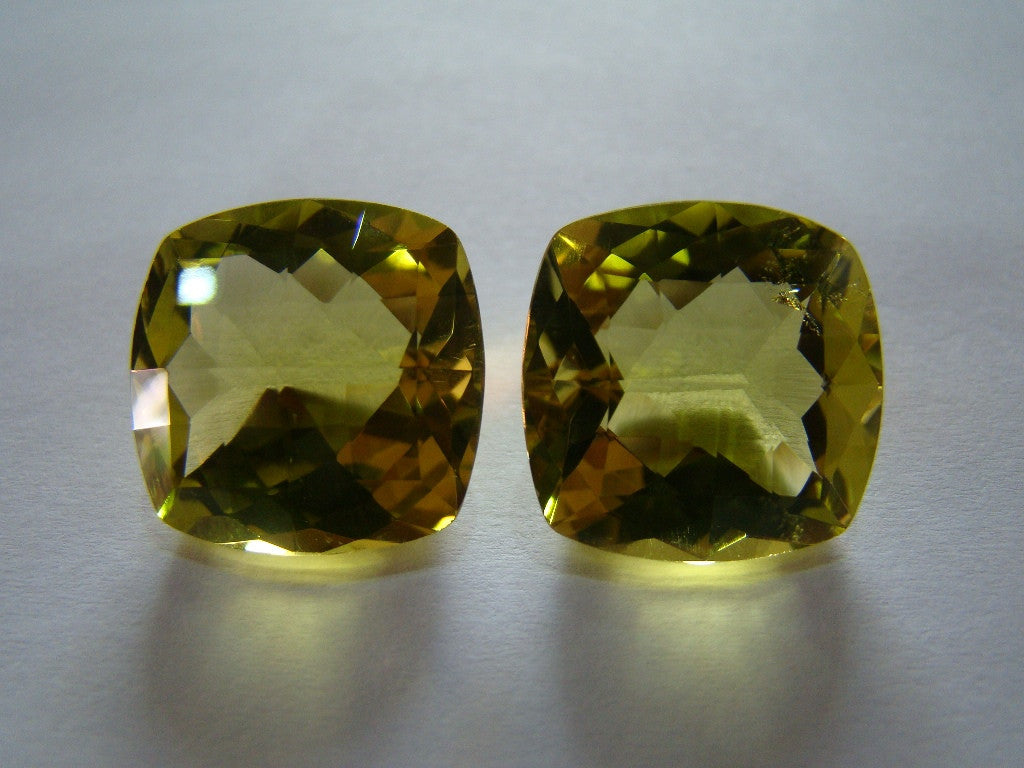 40.50ct Quartz (Green Gold) Pair