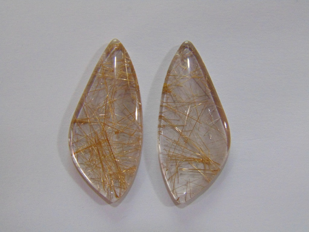 45.50ct Rutile (Smoky) Pair