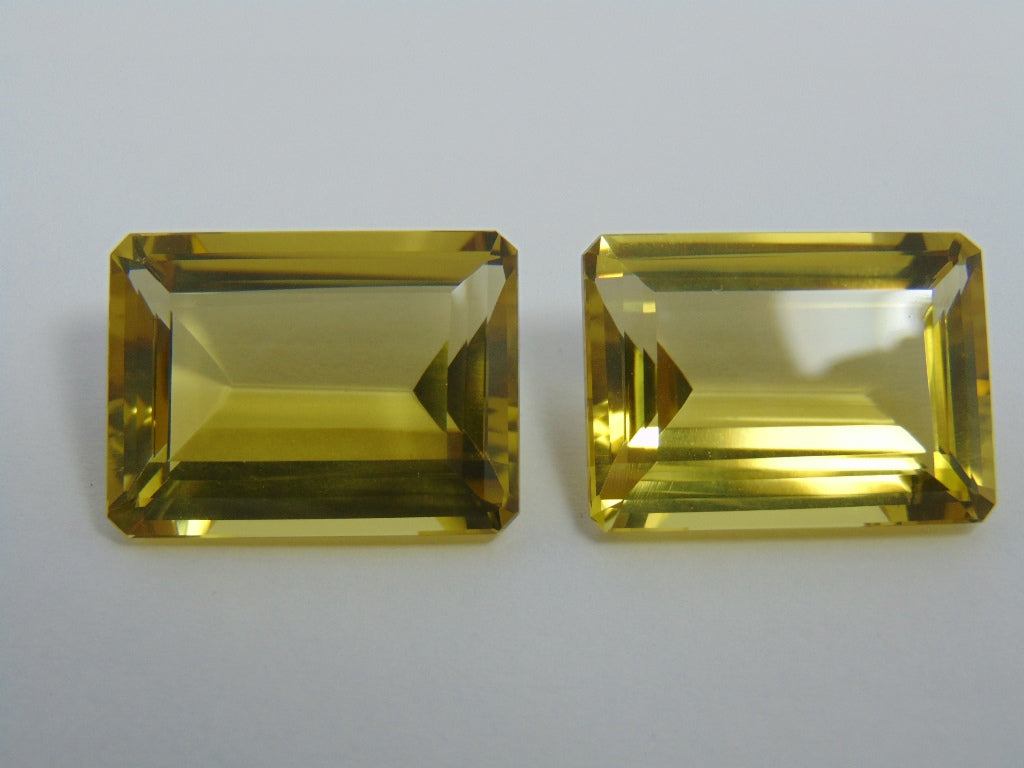 64cts Quartz (Green Gold) Pair