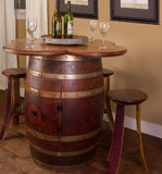 Napa East Wine Barrel Table Set with Cabinet Base - The Backyard Bartender