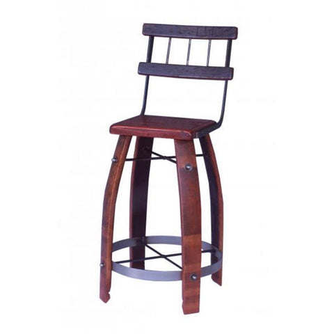 "2-Day Designs 28"" Wood Stave Bar Stool with Back - The Backyard Bartender"