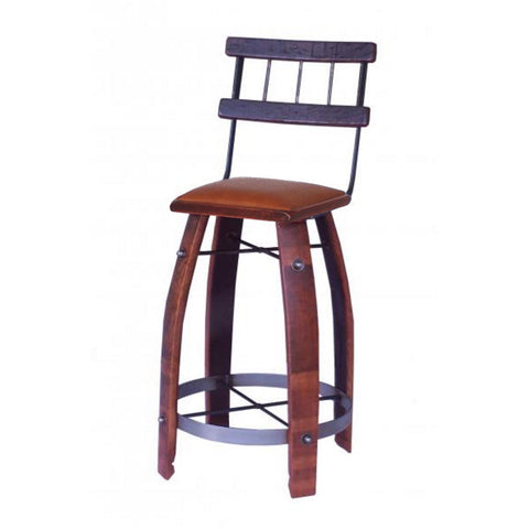 "2-Day Designs 28"" Tan Leather Stave Stool with Back - The Backyard Bartender"