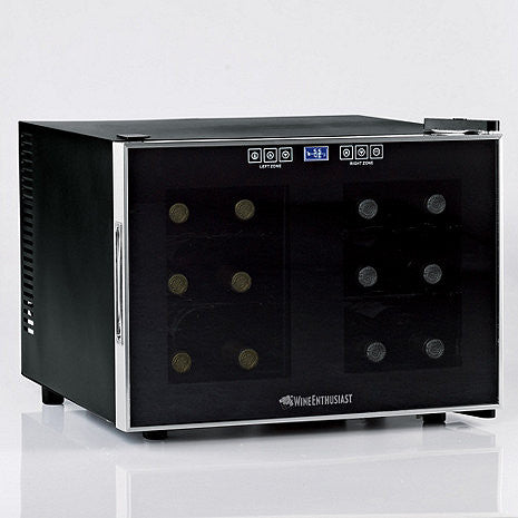 Wine Enthusiast Silent 12-Bottle Dual-Zone Touchscreen Wine Cooler - The Backyard Bartender