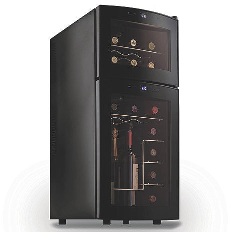 Wine Enthusiast Silent 21-Bottle Dual-Zone Touchscreen Wine Cooler with Curved Doors - The Backyard Bartender