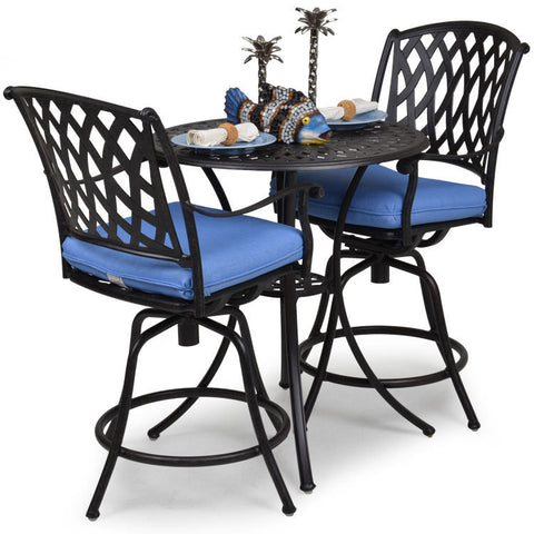 "Garden Classics® Series 7100 30"" Round Bar Table 3-Piece Set - The Backyard Bartender"