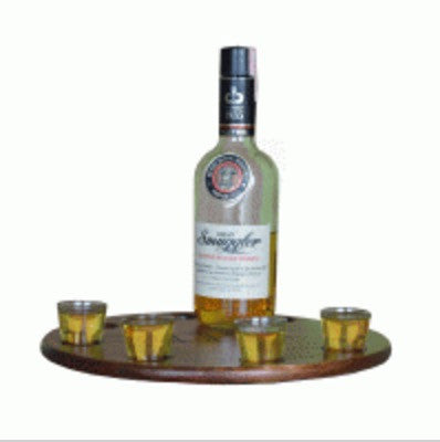 2-Day Designs Lazy Susan with Shot Glasses - The Backyard Bartender