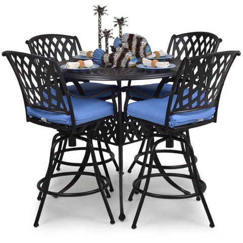 "Garden Classics® Series 7100 42"" Round Bar Table 5-Piece Set - The Backyard Bartender"