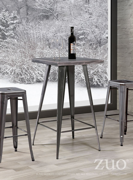 Olympia Bar Table with 2 Marius Stools Gunmetal - The Backyard Bartender
