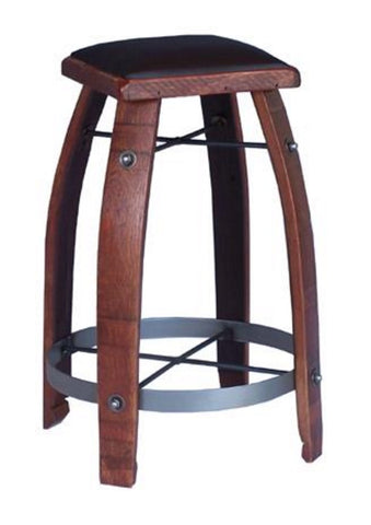 2-Day Designs Stave Stool with Chocolate Leather Seat - The Backyard Bartender