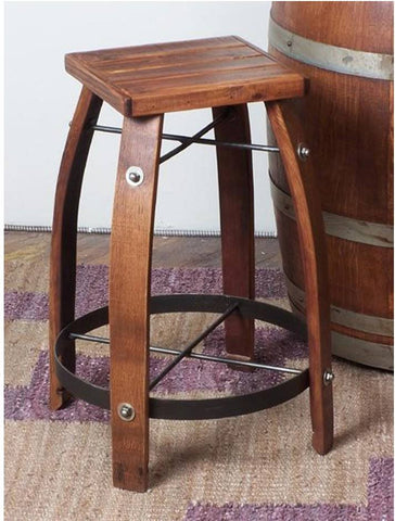 2-Day Designs Stave Stool with Wood Seat - The Backyard Bartender