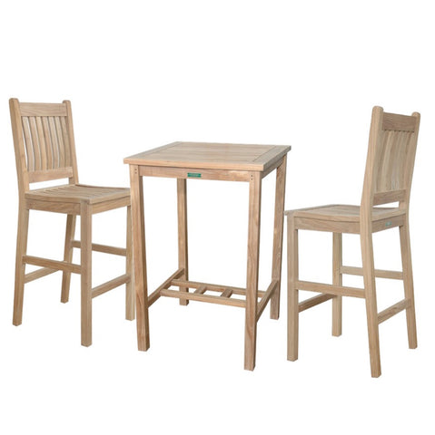 Anderson Teak Avalon 3-Piece Outdoor Bar Table SET-10 - The Backyard Bartender