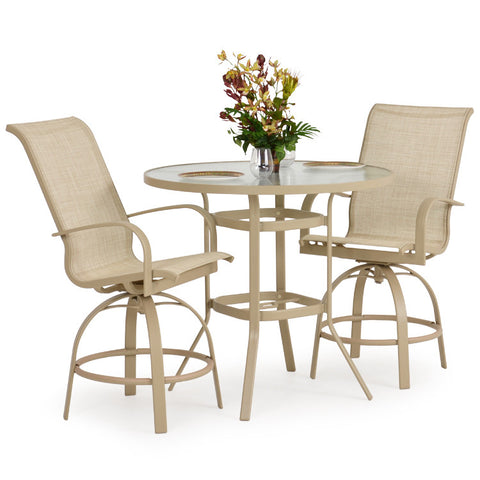 Garden Classics® Series 1400 Series 3PC Round Bar Table Set - The Backyard Bartender