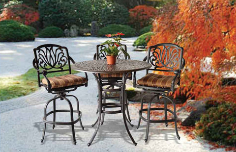 "Elizabeth 42"" Round Bar Table with 4 Bar Chairs (standard cushion) - The Backyard Bartender"