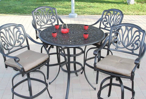 "Elizabeth 48"" Round Bar Table Set with 4 Bar Chairs (standard cushion) - The Backyard Bartender"