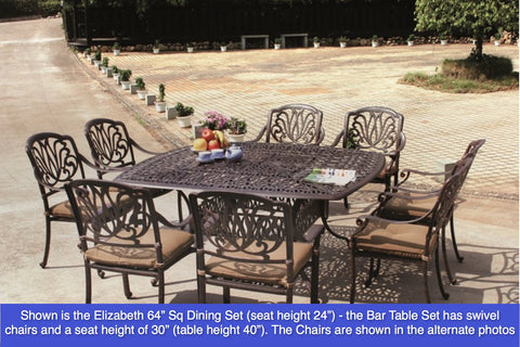 "Elizabeth 64"" Square Bar Table with 6 Bar Chairs (standard cushion) - The Backyard Bartender"