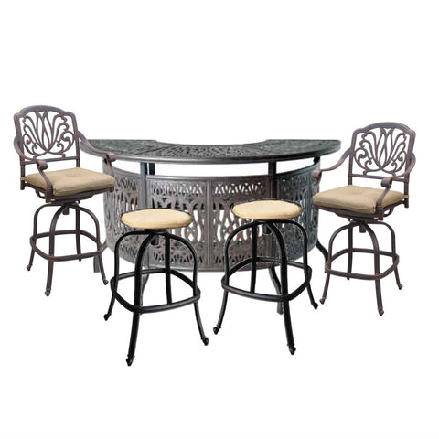 Elizabeth Party Bar Set with 2 Swivel Bar Chairs, 2 Swivel Bar Stools - The Backyard Bartender