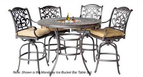 "Elizabeth 52"" Round Ice Bucket Bar Table with 6 Bar Chairs (standard cushion) - The Backyard Bartender"