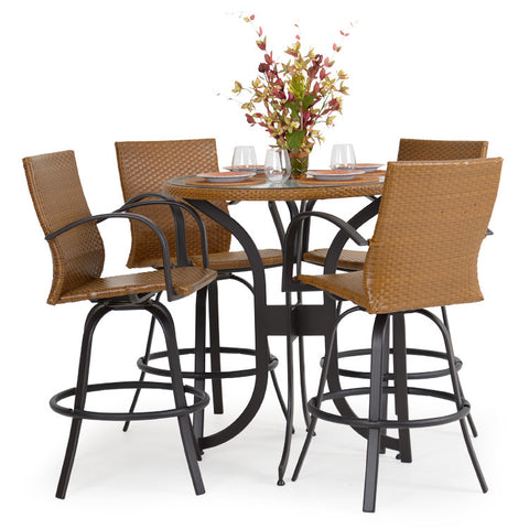 Garden Classics® Series 3200 5-Piece Round Bar Table Set with Chairs - The Backyard Bartender