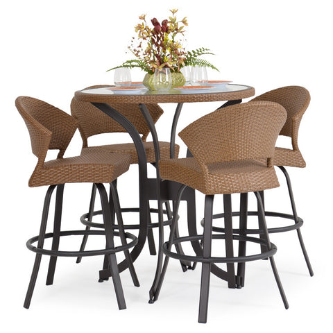 Garden Classics® Series 3200 5-Piece Round Bar Table Set with Stools - The Backyard Bartender